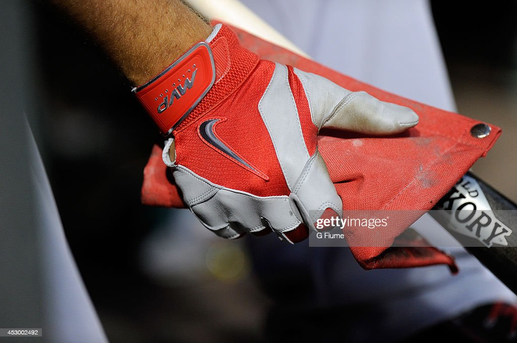 Mike Trout #27 of the Los Angeles Angels wears Nike batting gloves during the game against the Baltimore Orioles at Oriole Park at Camden Yards on July 30, 2014 in Baltimore, Maryland.