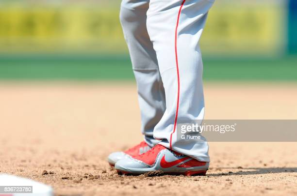 Mike Trout of the Los Angeles Angels wears Nike shoes during the game against the Washington Nationals at Nationals Park on August 16 2017 in...