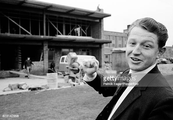 Mike Turner secretary of Leicestershire shows off the construction work on the new Pavilion at Grace Road Leicester circa March 1966