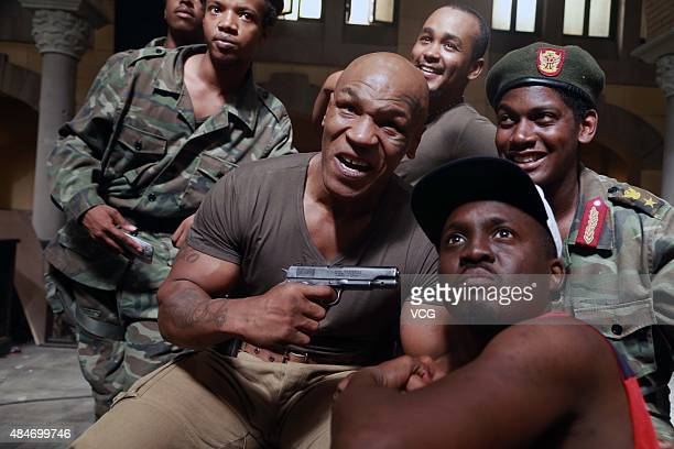 Mike Tyson American retired professional boxer attends the media visit of director Tan Bing on August 20 2015 in Beijing China