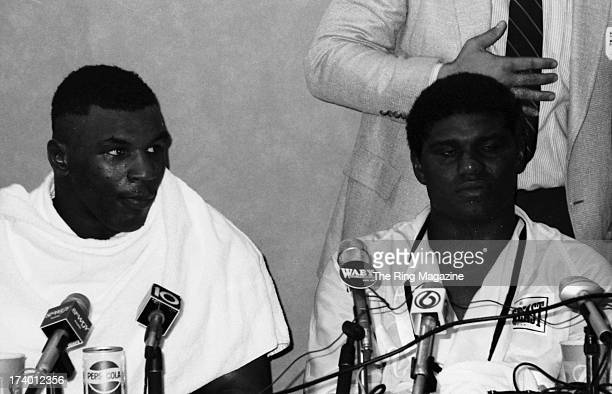 Mike Tyson and Mitch Green talk to the press after the fight at Madison Square Garden in New York New YorkMike Tyson won by a UD 10