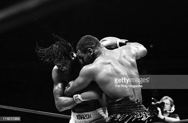 Mike Tyson grabs Mitch Green during the fight at Madison Square Garden in New York New York Mike Tyson won by a UD 10