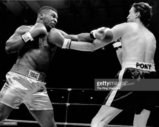 Mike Tyson lands a punch against David Jaco during the fight at the Plaza Convention Centeron January 111986 in Albany New York Mike Tyson won by a...
