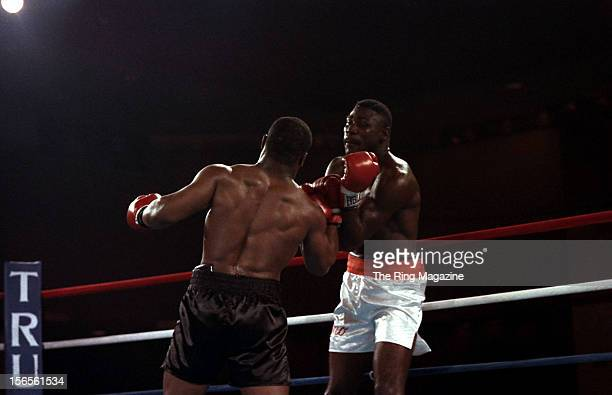 Mike Tyson lands a uppercut to Jose Ribalta during a bout at Trump Plaza Hotel on August 17 1986 in Atlantic City New JerseyMike Tyson defeated Jose...