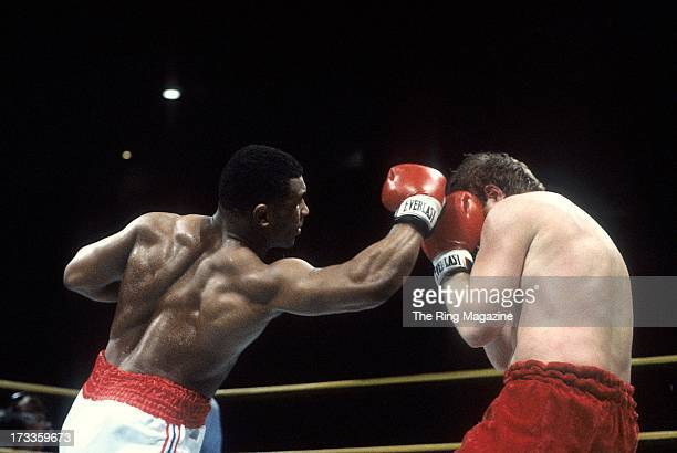 Mike Tyson lands an uppercut against Steve Zouski during the fight at Nassau Coliseum in Uniondale New York Mike Tyson won by a KO 3