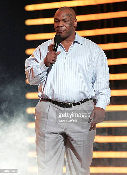 Mike Tyson on stage at Spike TV's 2008 Video Game Awards at Sony Picture Studios on December 14 2008 in Culver City California