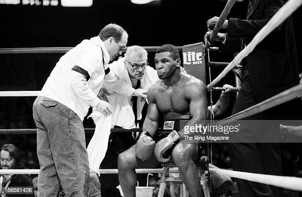 Mike Tyson rests in his corner during the fight against Mitch Green at Madison Square Garden on May 20 1986 in New York New York Mike Tyson won by a...
