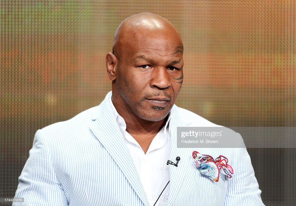 <a gi-track='captionPersonalityLinkClicked' href=/galleries/search?phrase=Mike+Tyson&family=editorial&specificpeople=194986 ng-click='$event.stopPropagation()'>Mike Tyson</a> speaks onstage during the '<a gi-track='captionPersonalityLinkClicked' href=/galleries/search?phrase=Mike+Tyson&family=editorial&specificpeople=194986 ng-click='$event.stopPropagation()'>Mike Tyson</a>: Undisputed Truthts' panel discussion at the HBO portion of the 2013 Summer Television Critics Association tour - Day 2 at the Beverly Hilton Hotel on July 25, 2013 in Beverly Hills, California.
