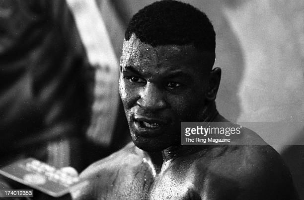 Mike Tyson talks to the press after winning the fight against Mitch Green at Madison Square Garden in New York New YorkMike Tyson won by a UD 10