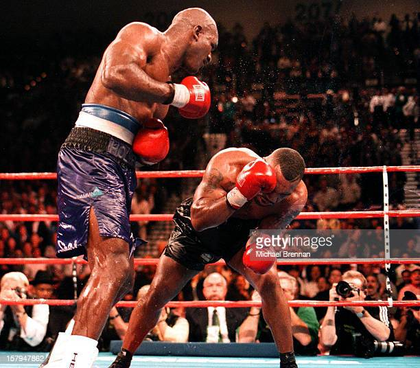Mike Tyson v Evander Holyfield 1 in Las Vegas Nevada 9th November 1996 After a devastating punch from Holyfield at the end of the tenth Tyson barely...