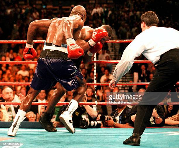 Mike Tyson v Evander Holyfield 1 in Las Vegas Nevada 9th November 1996 After a devastating punch from Holyfield at the end of the tenth round Tyson...