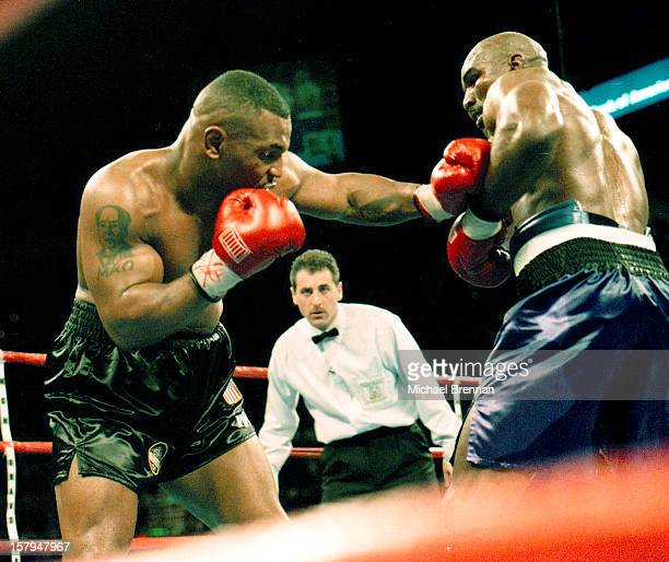 Mike Tyson v Evander Holyfield 1 in Las Vegas Nevada 9th November 1996 After a devastating punch from Holyfield Tyson barely made it out for the...
