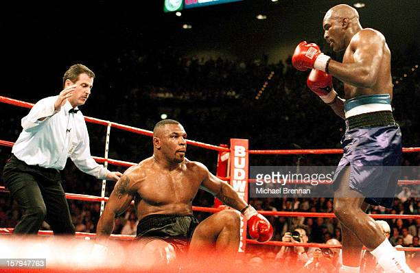 Mike Tyson v Evander Holyfield 1 in Las Vegas Nevada 9th November 1996 The first of a sequence of the Tyson knockdown Holyfield has just connected...