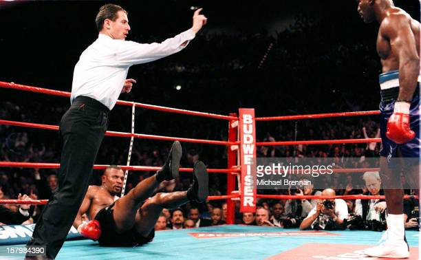 Mike Tyson v Evander Holyfield 1 in Las Vegas Nevada 9th November 1996 Tyson is knocked down in the sixth round Referee Mitch Halpern counts Tyson...