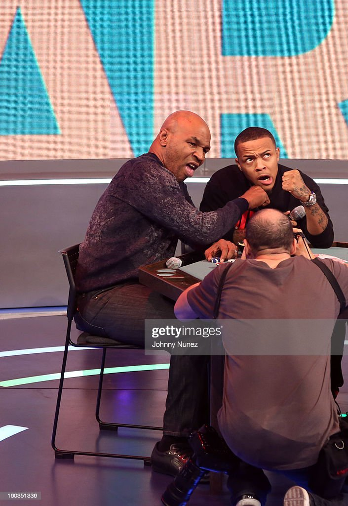 <a gi-track='captionPersonalityLinkClicked' href=/galleries/search?phrase=Mike+Tyson&family=editorial&specificpeople=194986 ng-click='$event.stopPropagation()'>Mike Tyson</a> visits BET's '106 & Park' with host <a gi-track='captionPersonalityLinkClicked' href=/galleries/search?phrase=Bow+Wow+-+Rapper&family=editorial&specificpeople=211211 ng-click='$event.stopPropagation()'>Bow Wow</a> at 106 & Park Studio on January 29, 2013, in New York City.
