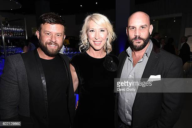 Mike Valles Shaun Thompson and Josh Brown attend the Luxury Living Hosts Bugatti Home Collection Launch at Petersen Automotive Museum on November 9...