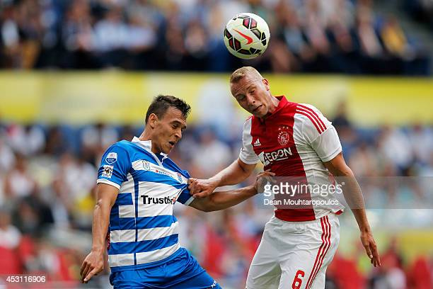 Mike van der Hoorn of Ajax and Trent Sainsbury of Zwolle battle for the header during the 19th Johan Cruijff Shield match between Ajax Amsterdam and...