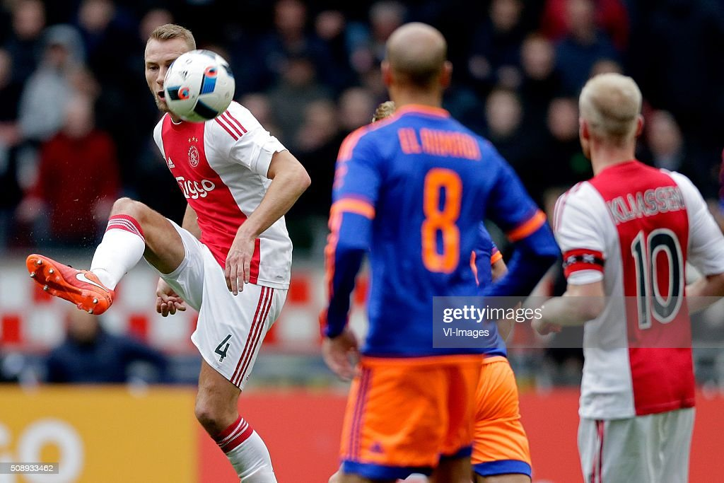 Mike van der Hoorn of Ajax during the Dutch Eredivisie match between Ajax Amsterdam and Feyenoord Rotterdam at the Amsterdam Arena on February 07, 2016 in Amsterdam, The Netherlands