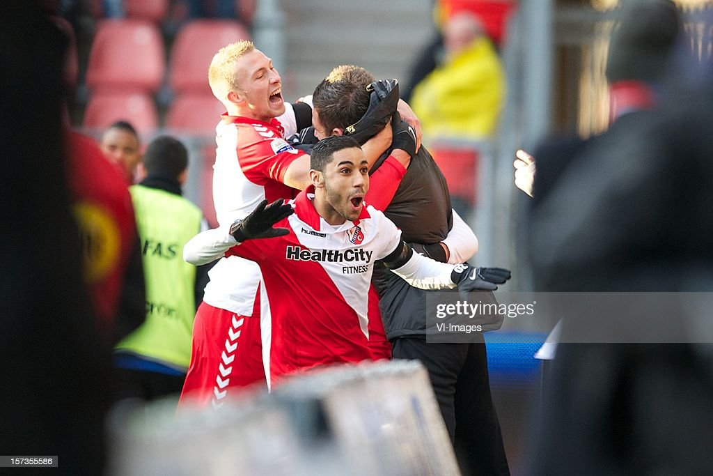 Mike van der Hoorn of FC Utrecht, Anouar Kali of FC Utrecht during the Dutch Eredivisie match between FC Utrecht and AZ Alkmaar at the Galgenwaard Stadium on December 02, 2012 in Utrecht, The Netherlands.