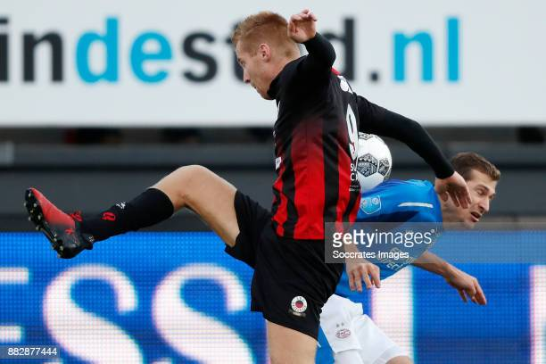 Mike van Duinen of Excelsior Daniel Schwaab of PSV during the Dutch Eredivisie match between Excelsior v PSV at the Van Donge De Roo Stadium on...
