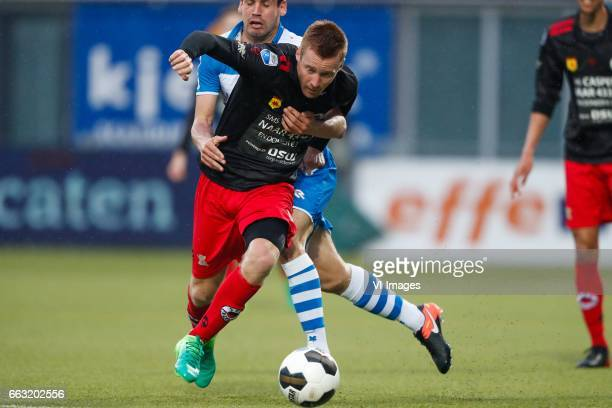 Mike van Duinen of Excelsior Dirk Marcellis of PEC Zwolleduring the Dutch Eredivisie match between PEC Zwolle and bv Excelsior Rotterdam at the...