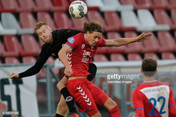 Mike van Duinen of Excelsior Giovanni Troupee of FC Utrecht during the Dutch Eredivisie match between FC Utrecht v Excelsior at the Stadium...