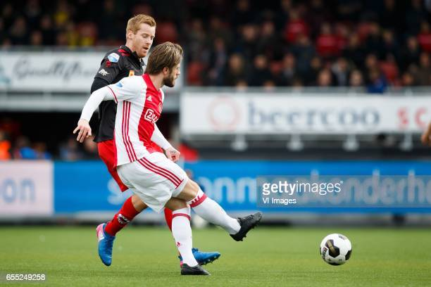 Mike van Duinen of Excelsior Lasse Schone of Ajaxduring the Dutch Eredivisie match between sbv Excelsior Rotterdam and Ajax Amsterdam at Woudenstein...