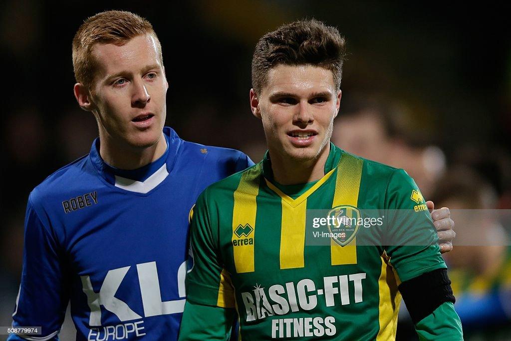 Mike van Duinen of Roda JC, Danny Bakker of ADO Den Haag during the Dutch Eredivisie match between ADO Den Haag and Roda JC Kerkrade at Kyocera stadium on February 06, 2016 in The Hague, The Netherlands