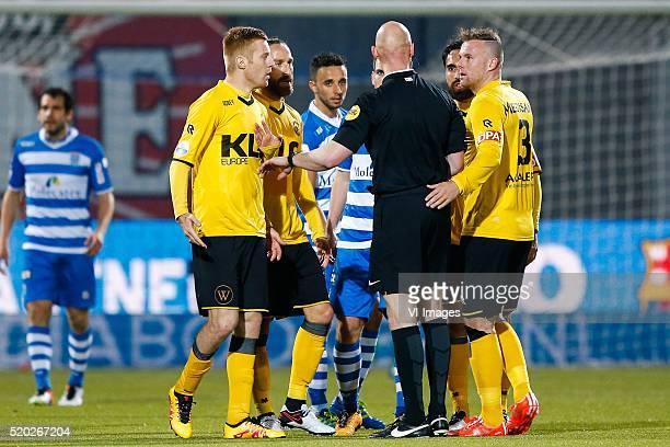 Mike van Duinen of Roda JC Ugur Inceman of Roda JC Ouasim Bouy of PEC Zwolle Wout Brama of PEC Zwolle referee Siemen Mulder Ard van Peppen of Roda JC...