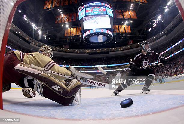 Mike Vecchione of the Union College Dutchmen scores a goal past Thatcher Demko of the Boston College Eagles during the 2014 NCAA Division I Men's...