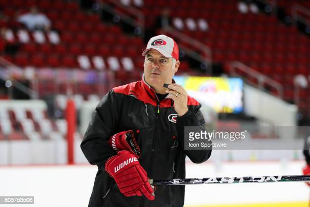 Mike Vellucci the new head coach of the Charlotte Checkers during the Carolina Hurricanes Development Camp on June 29 2017 at the PNC Arena in...