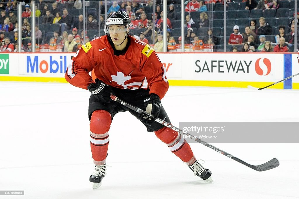 Mike Vermeille #5 of Team Switzerland skates during the 2012 World Junior Hockey Championship game against Team Denmark at the Saddledome on January 2, 2012 in Calgary, Alberta, Canada.