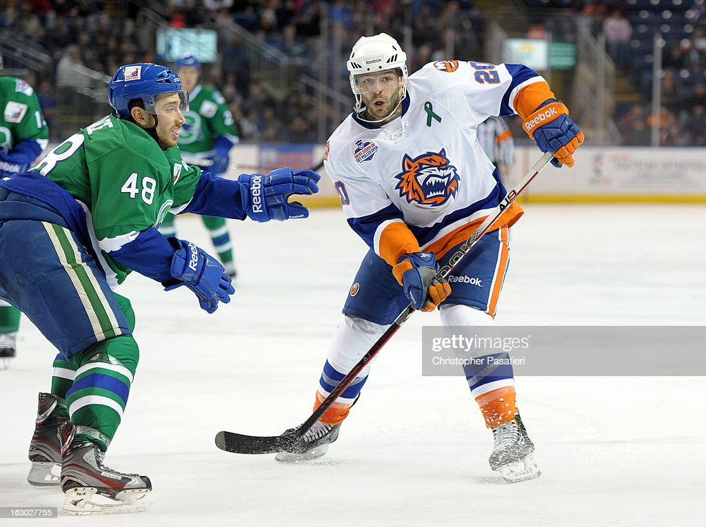 Mike Vernace #48 of the Connecticut Whale attempts to hold off Blair Riley #20 of the Bridgeport Sound Tigers after losing his stick during an American Hockey League game on March 3, 2013 at the Webster Bank Arena at Harbor Yard in Bridgeport, Connecticut.