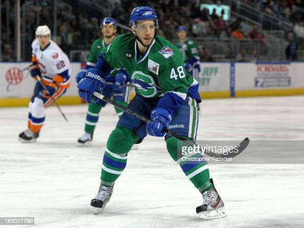 Mike Vernace of the Connecticut Whale skates during an American Hockey League game against the Bridgeport Sound Tigers on March 3 2013 at the Webster...