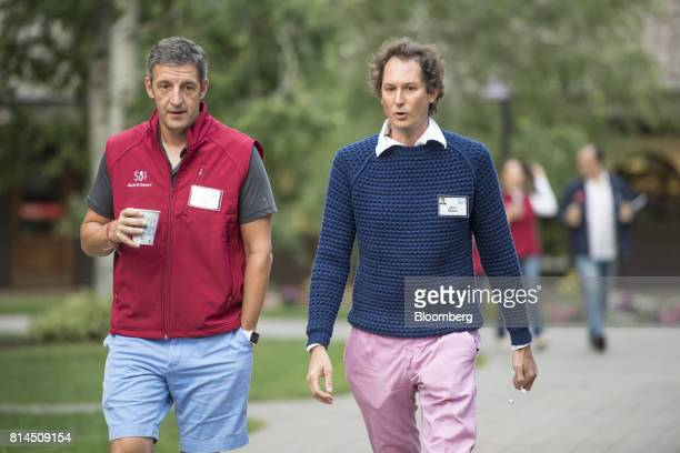 Mike Volpi general partner of Index Ventures left and John Elkann chairman of Fiat Chrysler Automobiles NV arrive for the morning sessions during the...