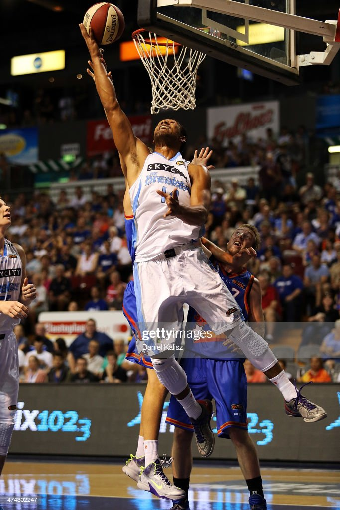 Mike Vukona of the Breakers takes a shot during the round 19 NBL match between the Adelaide 36ers and the New Zealand Breakers at Adelaide Arena in February 23, 2014 in Adelaide, Australia.