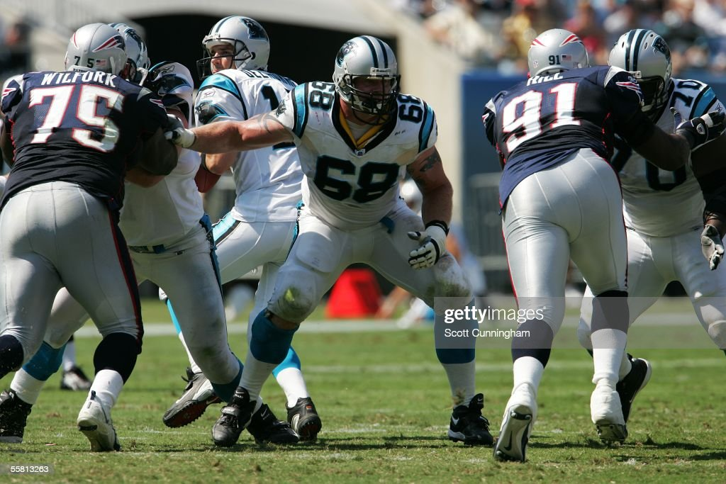 Mike Wahle #68 of the Carolina Panthers blocks against the New England Patriots at Bank of America Stadium on September 18, 2005 in Charlotte, North Carolina. The Panthers defeated the Patriots 27-17.