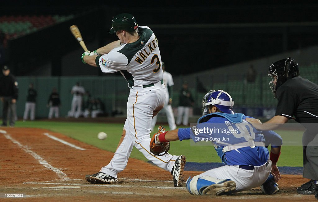 Mike Walker of Australia bats in the seventh inning during the World Baseball Classic First Round Group B match between South Korea and Australia at Intercontinental Baseball Stadium on March 4, 2013 in Taichung, Taiwan.