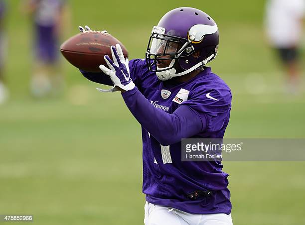 Mike Wallace of the Minnesota Vikings makes a catch during practice on June 4 2015 at Winter Park in Eden Prairie Minnesota