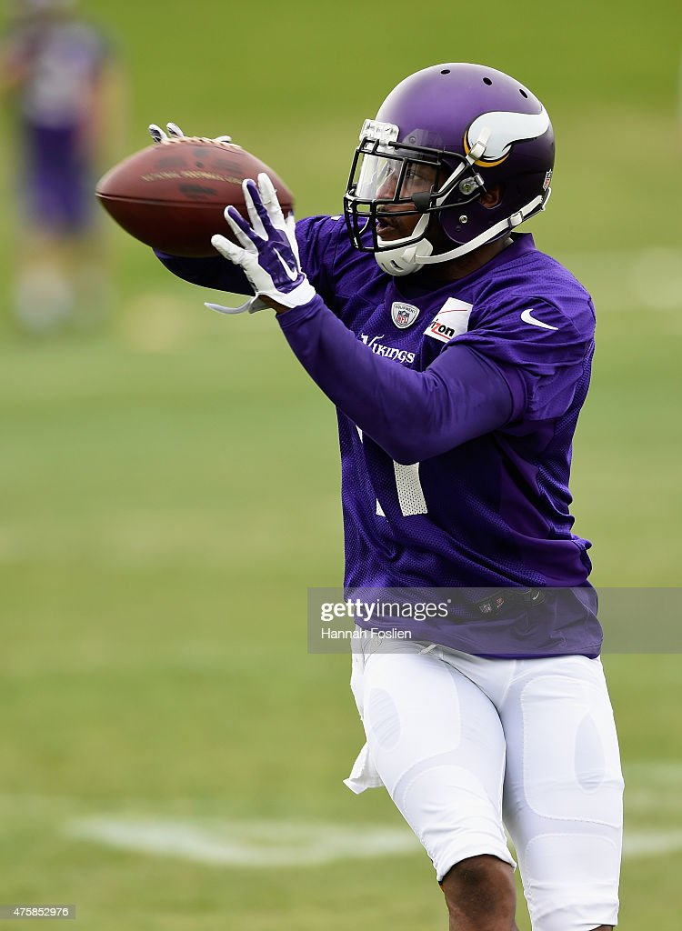 Mike Wallace #11 of the Minnesota Vikings makes a catch during practice on June 4, 2015 at Winter Park in Eden Prairie, Minnesota.