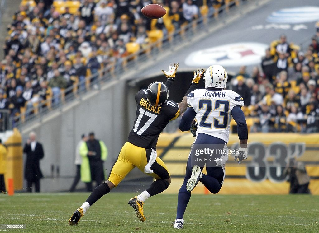 Mike Wallace #17 of the Pittsburgh Steelers can't make a catch against Quentin Jammer #23 of the San Diego Chargers during the game on December 9, 2012 at Heinz Field in Pittsburgh, Pennsylvania.