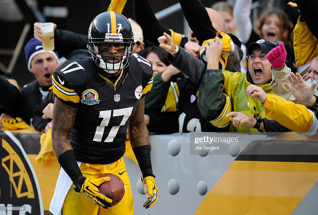 Mike Wallace #17 of the Pittsburgh Steelers reacts with fans after his touchdown in the third quarter against the San Diego Chargers on December 9, 2012 at Heinz Field in Pittsburgh, Pennsylvania. San Diego won the game 34-24.