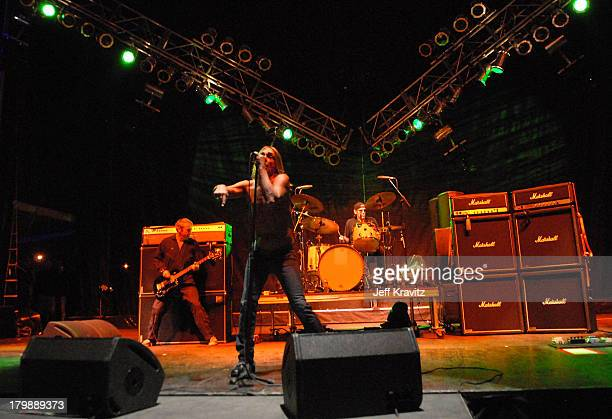 Mike Watt Iggy Pop and Scott Asheton of Iggy and the Stooges perform during the Vegoose Music Festival on October 27 2007 at Sam Boyd Stadium in Las...