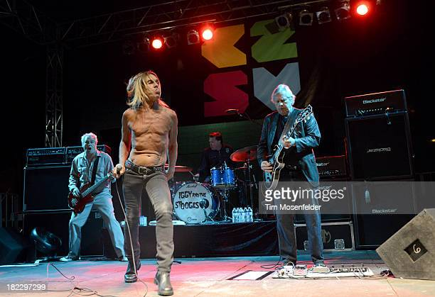 Mike Watt Iggy Pop Scott Asheton and James Williamsonof Iggy and the Stooges perform as part of C2SV Music Festival Day Three at St James Park on on...
