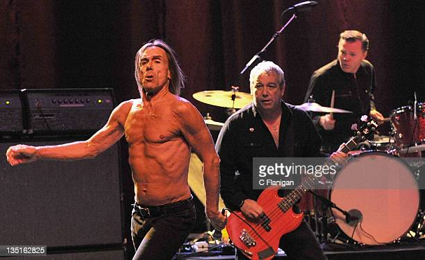 Mike Watt Scott Asheton and Iggy Pop of Iggy and The Stooges perform at The Warfield Theater on December 6 2011 in San Francisco California