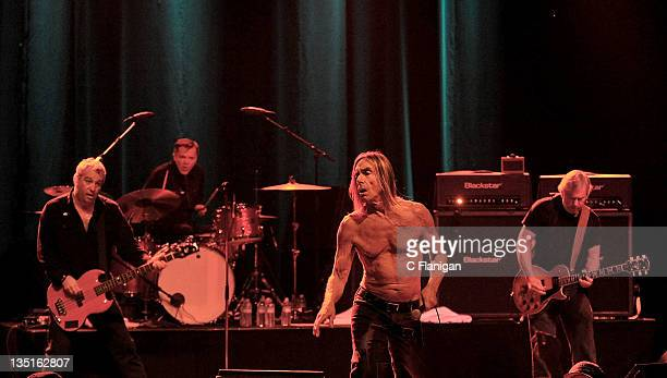 Mike Watt Scott Asheton Iggy Pop and James Williamson of Iggy and The Stooges perform at The Warfield Theater on December 6 2011 in San Francisco...