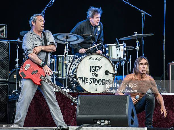 Mike Watt Toby Dammit and Iggy Pop of American rock band Iggy and The Stooges performing live onstage at Hard Rock Calling Festival July 13 2012