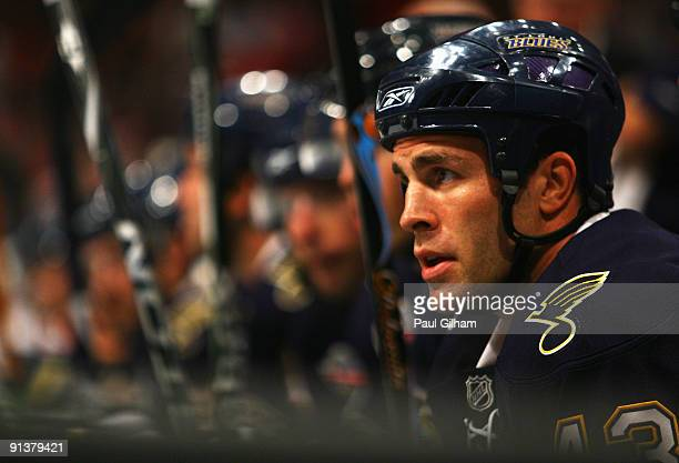 Mike Weaver of St Louis Blues looks on from the bench during the 2009 Compuware NHL Premiere Stockholm match between St Louis Blues and Detroit Red...