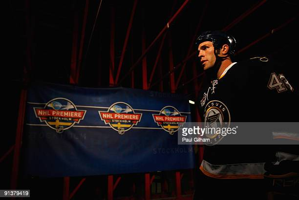 Mike Weaver of St Louis Blues makes his way out onto the ice prior to the start of the 2009 Compuware NHL Premiere Stockholm match between St Louis...