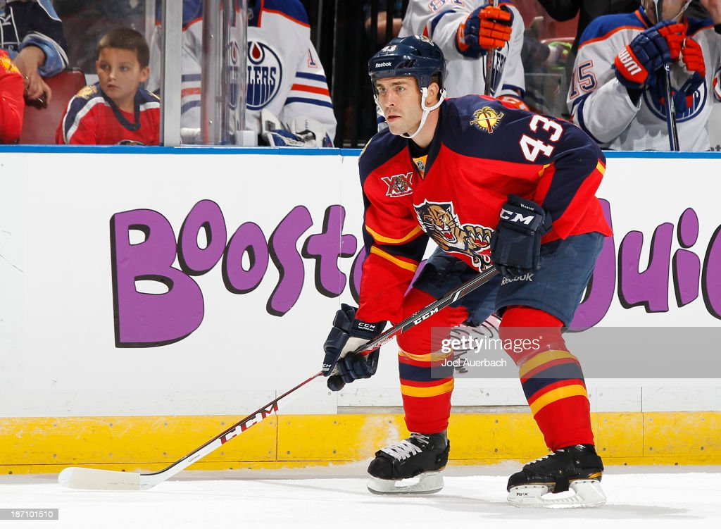 Mike Weaver #43 of the Florida Panthers gets into position at the point during a face-off against the Edmonton Oilers at the BB&T Center on November 5, 2013 in Sunrise, Florida. The Oilers defeated the Panthers 4-3 in overtime.